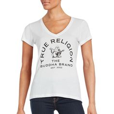 True Religion Short Sleeve Graphic Tee ($40) ❤ liked on Polyvore featuring tops, t-shirts, white, short sleeve t shirt, white graphic t shirt, white v neck tee, v-neck tee and graphic t shirts