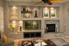 Built In Shelves Living Room, Feature Wall Living Room, Living Room Wall Units, Living Room Tv Unit Designs, Home Living Room, Interior Design Living Room, Living Room Decor, Flat Interior, Build A Fireplace