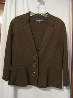 Jones New York Brown Sweater Jacket Blazer Size PM Petite #JonesNewYork #Sweatercoat