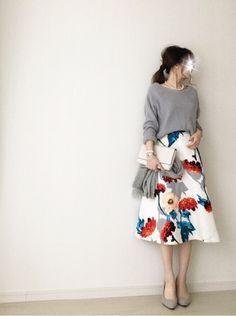 【coordinate】バナリパの花柄スカートで春コーデ|Umy's プチプラmixで大人のキレイめファッション
