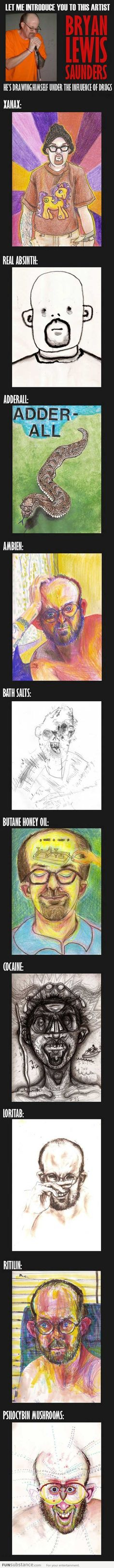 Artist draws himself under the influence of drugs