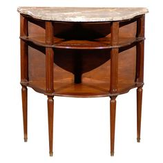 Late 19th Century Mahogany Dessert Table with Marble Top | From a unique collection of antique and modern demi-lune tables at https://www.1stdibs.com/furniture/tables/demi-lune-tables/
