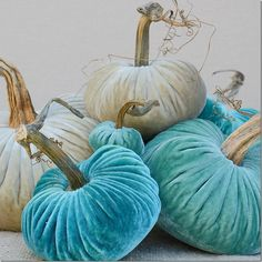 Aqua teal & turquoise Velvet pumpkins are more my style for Fall Dé️️cor. fall decor diy Refresh Your Decor Using Teal Color Halloween Porch, Halloween Crafts For Kids, Fall Crafts, Fall Halloween, Halloween 2020, Velvet Pumpkins, Fabric Pumpkins, White Pumpkins, Deco Turquoise