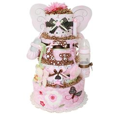 Chocolate Pink Butterfly Diaper Cake, $185.00