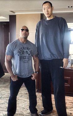 "6' 5"" Dwayne ""The Rock"" Johnson and 7' 9"" Sun Ming Ming"