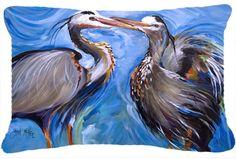 Blue Heron Love Indoor/Outdoor Throw Pillow