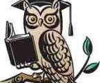 cartoon owl reading a book illustrating an article about writers problems