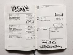 "chic-studies: "" My weekly spread for my bullet journal! It's the first week of…"