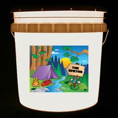 This bucket light features a colorful camping scene and your family name on a wooden sign.