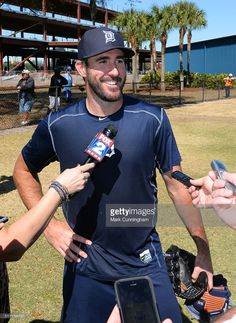 Justin Verlander of the Detroit Tigers looks on and smiles while talking to reporters during the Spring Training workout day at the TigerTown Facility on February 2016 in Lakeland, Florida. Get premium, high resolution news photos at Getty Images Detroit Sports, Detroit Tigers, Mlb Pitchers, Justin Verlander, Super Images, Workout Days, Summer Games, Spring Training, Diamond Are A Girls Best Friend