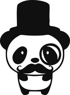Cute Panda Tophat Monocle and Mustache Vinyl by tattoosforcars, $3.05