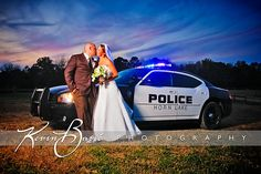 Great idea if you're in the services, military, police force, fire fighter, or the army. Request permission to use an official vehicle to personalise your wedding photography. Cop Wedding, The Office Wedding, Wedding Wishes, Wedding Pictures, Wedding Engagement, Dream Wedding, Police Wedding Photos, Police Officer Wedding, Military Police