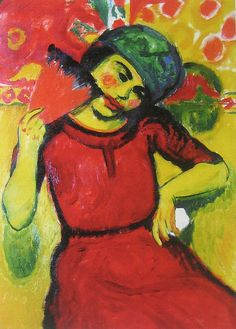 Young Woman with Red Fan, Hermann Max Pechstein, c. 1910 by Matthew Felix Sun, via Flickr