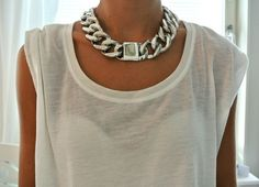 Chunky silver necklace+ white t-shirt