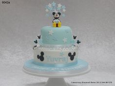 Mickey mouse http://www.cakescrazy.co.uk/details/2-tier-blue-mickey-mouse-cake-9042a.html