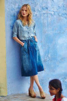 Pilcro Distressed Denim Midi Skirt #Anthropologie