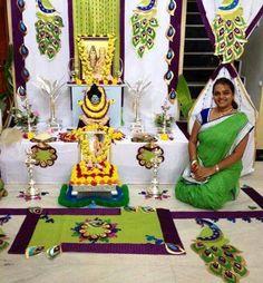 Ganpati decoration ....peacock theme Diwali Decorations, Festival Decorations, Birthday Decorations, Flower Decorations, Wedding Decorations, Gauri Decoration, Janmashtami Decoration, Ganpati Decoration At Home, Silver Pooja Items