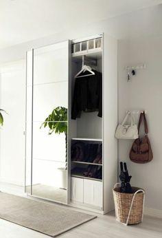 corridor set up hallway wardrobe in white with mirror beige carpet by wohnklamotte Grey Walls White Trim, Hallway Mirror, Home, Hallway Storage, Ikea Hallway, Beige Carpet, Master Bedroom Renovation, Hall Mirrors, Remodel Bedroom