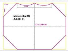 Mascara de tecido 3D: Moldes e medidas em todos os tamanhos para imprimir grátis - Como Fazer Mascara 3d, Mouth Mask Fashion, Diy Kids Furniture, Influenza, Sewing Patterns Free, Diy For Kids, Crafty, Face, How To Make