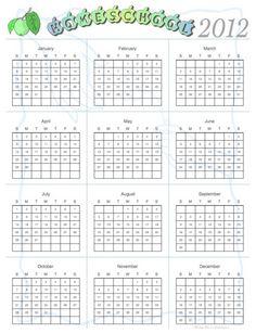 Free Homeschool Calendars Year At A Glance  Homeschool