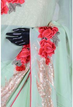 Pastel green luminous georgette saree with sequins work-SR22750