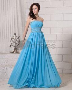 Long Evening Dresses-Elegant Solid Ruffle Beading Strapless Chiffon Women Evening Dresses