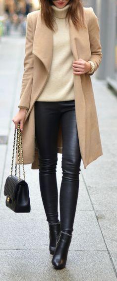 Leather legging + long camel coat.