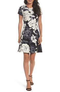 dc1251ab49 Free shipping and returns on Eliza J Floral Print Fit  amp  Flare Dress  (Regular
