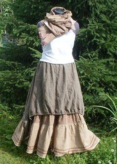 Buy No. 018 Linen skirt boho - brown, striped, long skirt, skirt boho