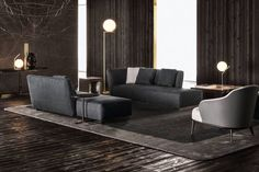 The Lounge Seymour sofa is a seating system outlined by curved lines that meet the impulses of freedom and originality. By Minotti