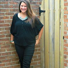 Black Lace Top Great lace top with a oversized fit. Faux button top closure. Tops Blouses