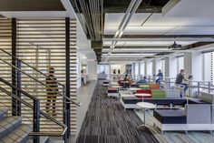 The #openworkspace takes new form at the WhitePages.com Seattle office, which features the Milliken Fixate collection. #modularcarpet #carpet #interiordesign #officedesign Photos by Sherman Takata. Design by IA Interior Architects.