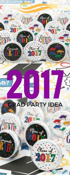 Add these Caps, Stars and Confetti Class of 2017 Graduation Party Favor Stickers to a Hershey's Kiss for a simple and easy party favor or table decoration!