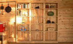 Bookshelf with cutout for axe.