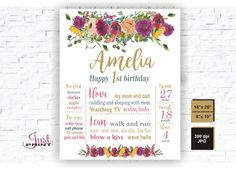 Floral First Birthday Chalkboard, Floral Poster Board, Pink Gold Girl, Watercolor Floral, Milestone, Chalkboard Sign, Personalized, 1st 2nd