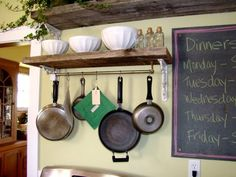 diy pot rack | DIY pot rack--towel bar hung under a shelf | Condo Storage Ideas