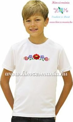 2c430cbf63 White T-shirt girls - hungarian machine embroidery - Kalocsa motif
