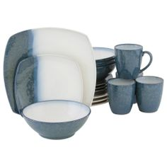 Sango Blue Metallics 16-piece Dinnerware Set | Overstock.com Shopping - Great Deals  sc 1 st  Pinterest & Sango Nova Black Dinnerware Collection #Macyu0027s | Dinnerware ...