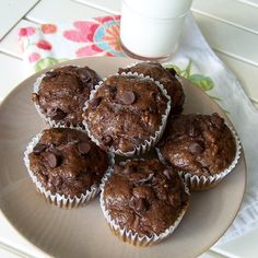 Healthy Chocolate Zucchini Banana Muffins