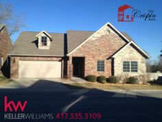 #KellerWilliams #Branson $169,900 110 Stillwood Dr This condo has the feel of owning your own home with all the benefits of having a condo. This unit is at the beginning of the subdivision, and was originally the model. It includes all the extras, with granite, stainless appliances, and arches. Also features NO steps! Condo fees include yard, exterior maintenance, and trash service.