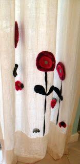 Cortina de lino con aplicacion de fieltro  Tairona diseño