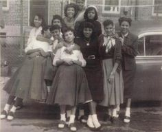 "from original pin: ""A gaggle of African American beauties wearing typical 1950s attire."""