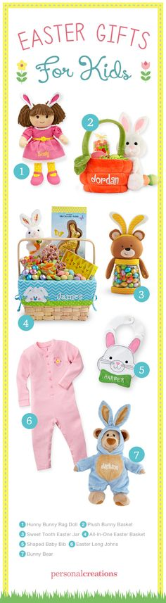 "Gift ideas for the Easter basket and beyond. Give personalized Easter gifts and tell your kids ""Somebunny loves you!"""