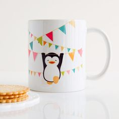 NEW Swing Forth Penguin Mug Cup por MyDearDarling en Etsy