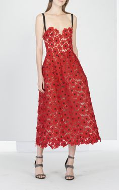 Tea Length Cocktail Dress by OSCAR DE LA RENTA for Preorder on Moda Operandi