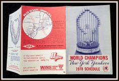 1978 NEW YORK YANKEES WINS APA TRANSPORT WORLD CHAMPION BASEBALL POCKET SCHEDULE #Pocket #Schedule