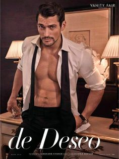 "Gandy Domination–Photographed by Mariano Vivanco, British model David Gandy poses for the May cover story of Vanity Fair España. Talking about redefining the role of models for himself personally, Gandy reflects on his career, sharing ""People had this image of models…they were silent. I was the first who came and said: I am a model, I want to be a brand and am willing to talk ..."