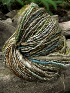Handspun yarn, handpainted BFL Wool , handmade worsted bulky thick and thin, gorgeous -Cottage