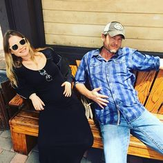 Pin for Later: Behati Prinsloo's Maternity Looks Are Our Idea of the Perfect Summer Wardrobe  The model posed with Blake Shelton while wearing an all-black look, as her husband joked that the two stars are both pregnant.