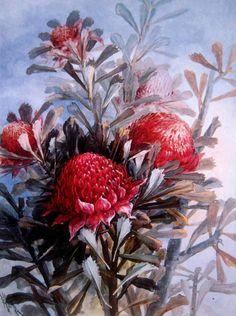 Still Life with Waratahs -  Marian Ellis Rowan (Australian, 1848 - 1922)